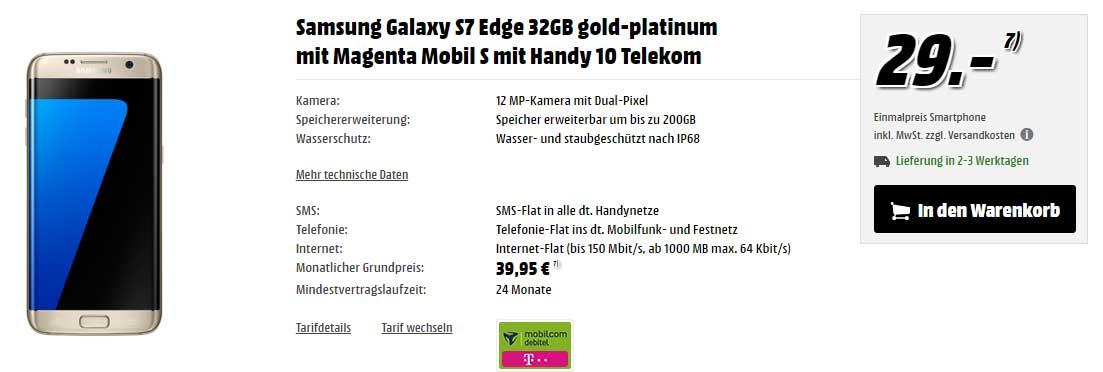 samsung galaxy s7 edge mit telekom magenta mobil s vertrag. Black Bedroom Furniture Sets. Home Design Ideas