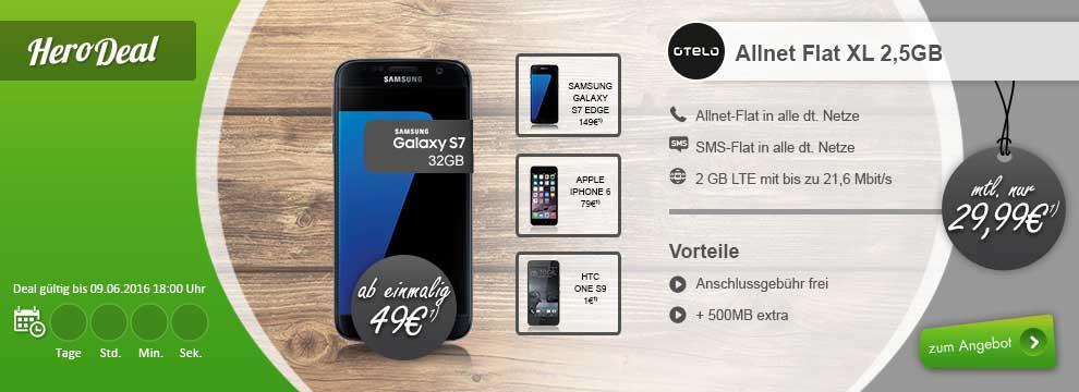 Otelo Allnet Flat Xl F 252 R 29 99 Mtl Samsung Galaxy S7 S7 Edge Allnet Flat Sms Flat 2 5