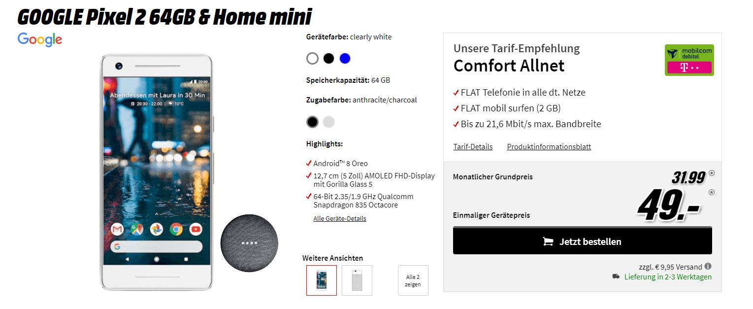 google pixel 2 im comfort allnet telekom vertrag kaufen
